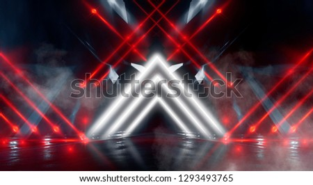 Background wall with neon lines and rays. Background dark corridor with neon light. Abstract background with lines and glow. Light element in the center, a triangle, a pyramid with neon. #1293493765