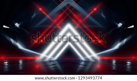 Background wall with neon lines and rays. Background dark corridor with neon light. Abstract background with lines and glow. Light element in the center, a triangle, a pyramid with neon. #1293493774