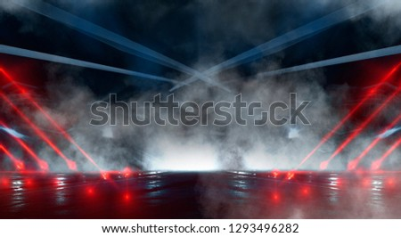 Empty scene of a show with lanterns and concrete floor, abstract background  lights, rays. Background wall with neon lines and rays. Background of an empty dark corridor with neon light. #1293496282