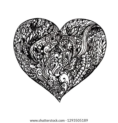 Heart with floral zen graphic hand drawn #1293505189