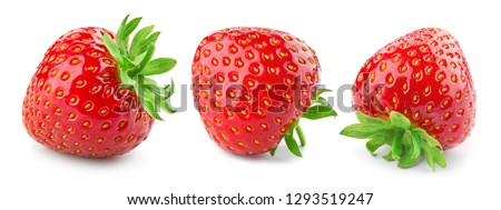 Strawberry isolate. Strawberries isolated on white background. Collection. #1293519247