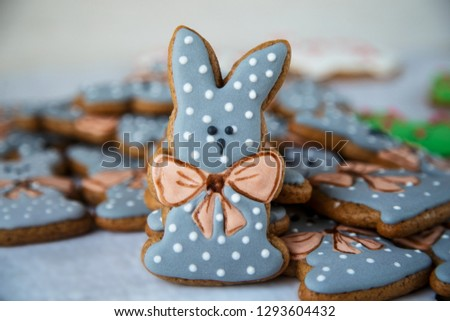 Gingerbread figurines image with cute Easter or Christmas or other festive motifs - Bunny or Rabbit a folkloric figure and symbol of holiday - Background for all types of design  #1293604432