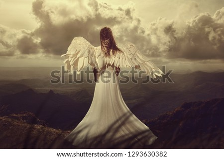 Back view of woman with wings. angel Royalty-Free Stock Photo #1293630382