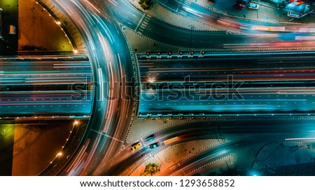 Road and Roundabout top view, Road traffic an important infrastructure in Thailand #1293658852