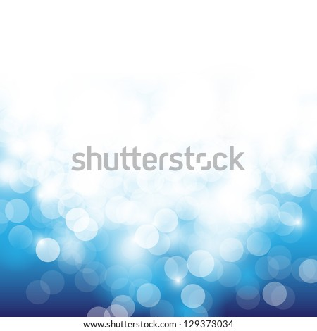 Lights On Blue Background - Vector Illustration, Graphic Design Useful For Your Design. Bright Blue Abstract Christmas Background With White Snowflakes #129373034