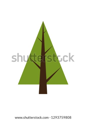 Abstract tree, spruce plant icon with brown trunk, forest element with triangle shape crown raster illustration isolated on white background
