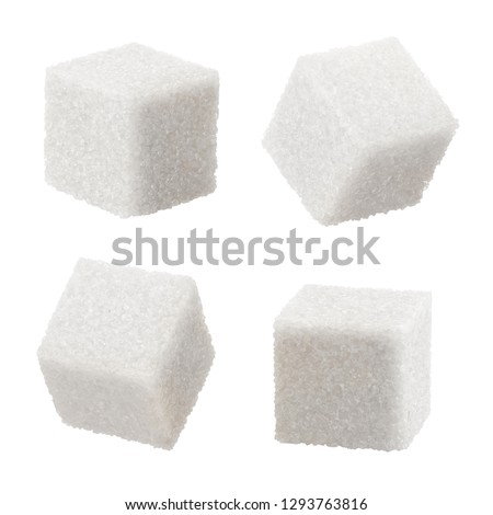 Set of white sugar cubes, isolated on white background #1293763816