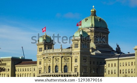 Federal Palace of Switzerland, building of swiss parliament in swiss capital city of Bern (Berne in French), Switzerland, Europe #1293879016