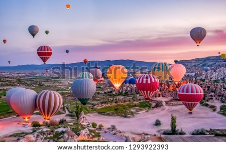 Colorful hot air balloons before launch in Goreme national park, Cappadocia, Turkey #1293922393