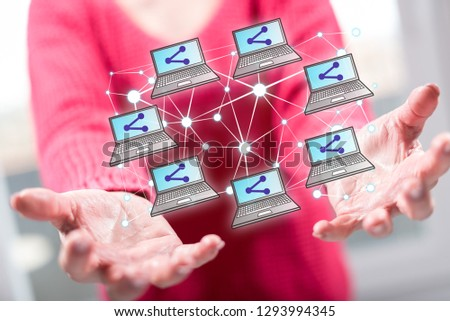 Social network concept above the hands of a woman in background #1293994345