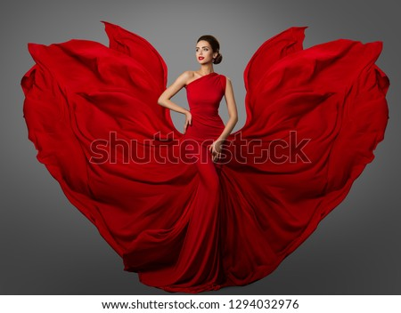 Woman Red Dress, Fashion Model in Long Silk Waving Gown Wings, Flying Fluttering Fabric #1294032976