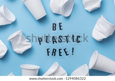 Be plastic free message with a single use cup Royalty-Free Stock Photo #1294086322