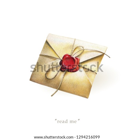 Vintage envelope with red wax seal, love letter isolated on white background. Illustration for Valentine's Day, banner for promo actions, offers, sales and other. #1294216099
