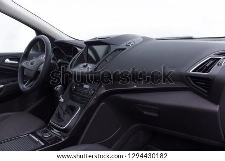 dashboard and steering wheel of a modern car #1294430182
