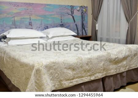 ST. PETERSBURG, RUSSIA - SEPT 14, 2018: Cozy bedroom #1294455964