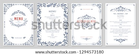 Ornate classic templates set in vintage style. Wedding and restaurant menu. Vector illustration. Royalty-Free Stock Photo #1294573180