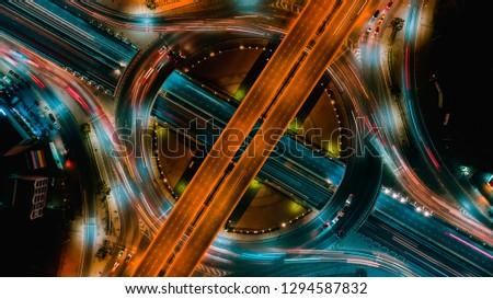 Circle Road traffic an important transport in Bangkok Thailand #1294587832