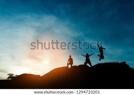 Silhouette of team leadership, teamwork and teamwork and delightful silhouette concepts #1294723201