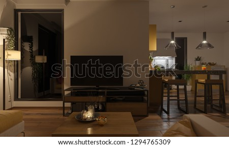 Softly Illuminated Lounge and the Kitchen 3D Rendering #1294765309