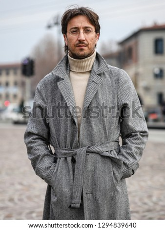 FLORENCE, Italy- January 8 2019: Alessandro Agazzi on the street during the Pitti 95. #1294839640