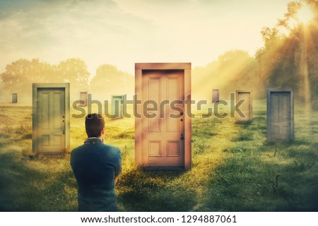 Rear view man in front of many different doors choosing one. Difficult decision, concept of important choice in life, failure or success. Ways to unknown future career development. Opportunity symbol. #1294887061