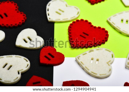 Decoration heart background. Love symbol valentines day. Valentines day holiday celebration. Texture with hearts close up. Traditional attributes of valentines day. Be my valentine. Lovely background. #1294904941