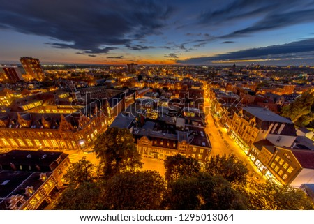 Aerial view of Aa church square in historic town centre of Groningen city at night. The Netherlands. #1295013064