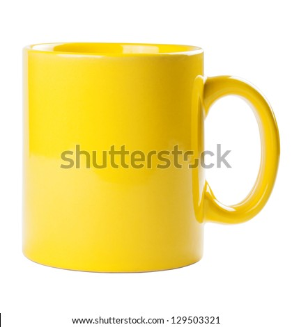 Yellow mug empty blank for coffee or tea isolated on white background #129503321