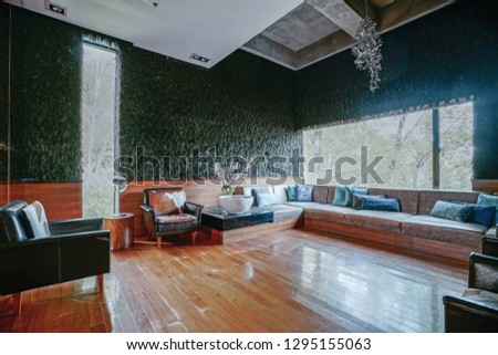 Hotel lobby interior, Asian Zen style design. #1295155063