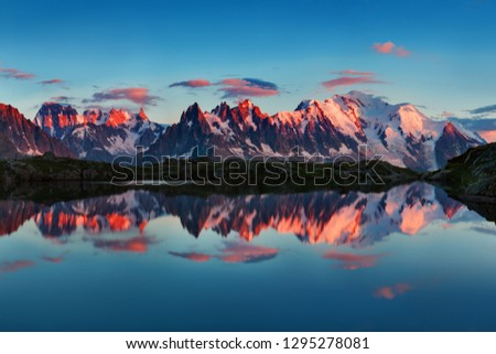Colorful summer view of the Mont Blanc (Monte Bianco) on background, Chamonix location. Beautiful outdoor scene in Vallon de Berard Nature Reserve, Aiguilles Rouges, Graian Alps, France, Europe.  #1295278081