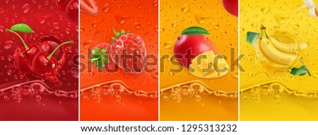 Juicy and fresh fruit. Cherry, strawberry, mango, banana. Dew drops and splash. 3d vector realistic set. High quality 50mb eps #1295313232