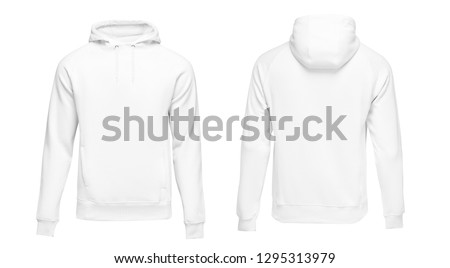 White male hoodie sweatshirt long sleeve with clipping path, mens hoody with hood for your design mockup for print, isolated on white background. Template sport clothes. #1295313979