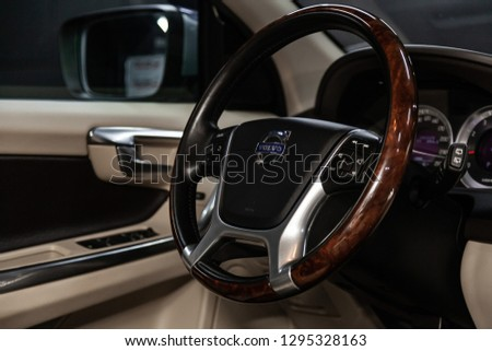 Novosibirsk, Russia -  January 25, 2019:  Volvo XC60,   close-up of the dashboard and steering wheel. Photography of a modern car on a parking in Novosibirsk
