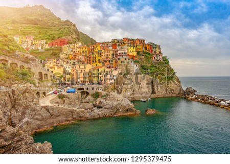 Colorful town on the rocks ,Cinque Terre, Liguria, Italy, Europe #1295379475