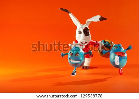 Easter eggs escape from rabbit