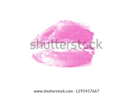 Color lipstick kiss mark on white background. Beautiful lips isolated on white. A bright imprint of the hot kiss. Valentine's Day fashionable element. Pink color #1295457667