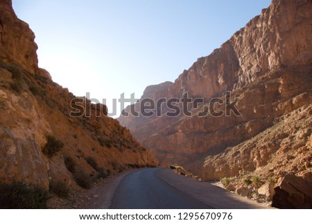 beautiful desert landscape of Todra Gorge in high atlas in morocco a famous climbing destination #1295670976