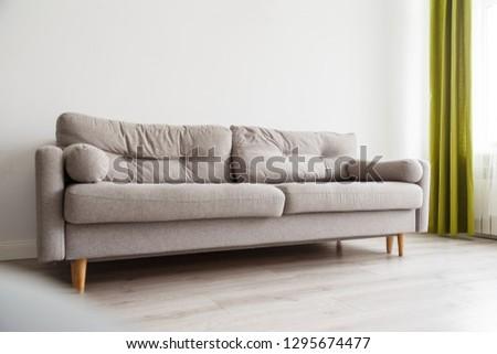 Grey sofa in monochromatic living room #1295674477