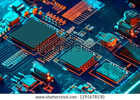 Electronic circuit board close up. #1295678530