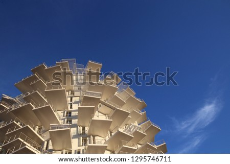 """Outdoor view of the new building under construction called """"l'arbre blanc"""", the white tree in english, located in Richter district, Montpellier city, France. January, 25, 2019. Modern design.  #1295746711"""