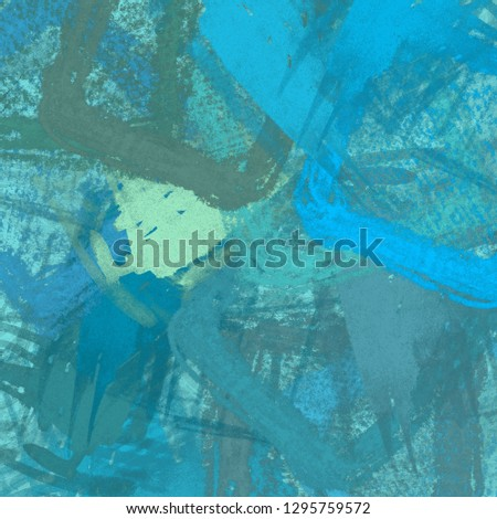 2d illustration. Artistic background image painted on wall. Abstract painting on canvas. Contemporary art. Hand made art. Colorful texture. Modern artwork. Brushstrokes. Painting with strokes of fat p #1295759572