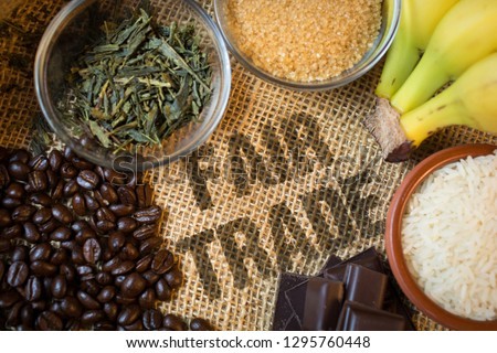 Fair trade products Royalty-Free Stock Photo #1295760448