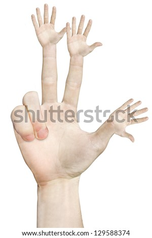 Hand with each finger sign on white
