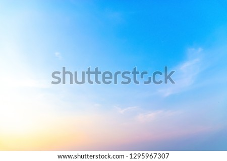 Sunrise with sunshine, sky with clouds and sun in the sky. #1295967307