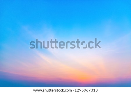 Sunrise with sunshine, sky with clouds and sun in the sky. #1295967313