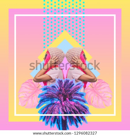 Contemporary art collage of mirrored dj girls with pink hair, palm trees and monstera leaves on summer beach party  #1296082327