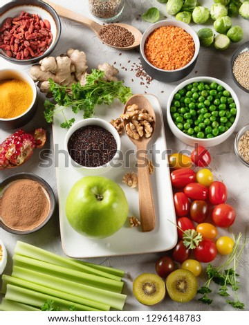Vegetables, fruit, grain, superfoods for vegan and vegetarian eating. Clean eating. Detox, dieting food concept #1296148783