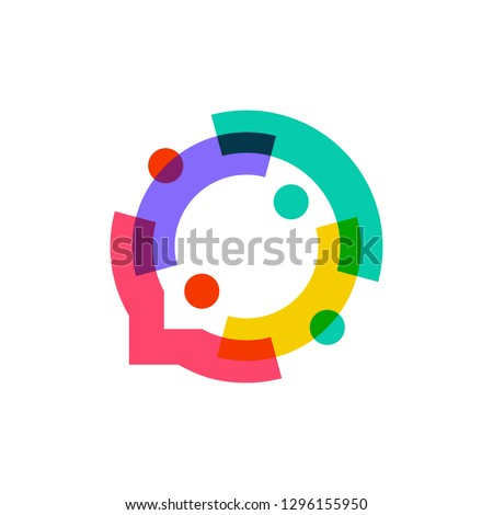 people family together human unity chat bubble logo vector icon Royalty-Free Stock Photo #1296155950