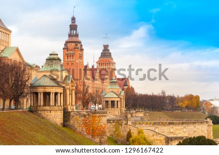 Architecture of Old Town in Szczecin (Stettin), view of Haken Terrace, Poland Royalty-Free Stock Photo #1296167422