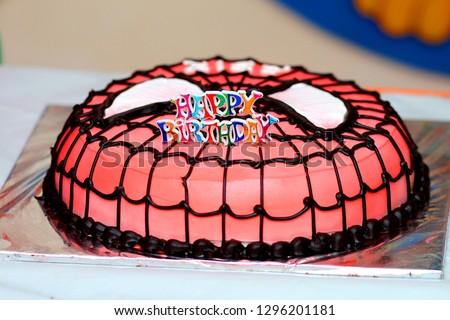 Birthday Cake of Spiderman face design